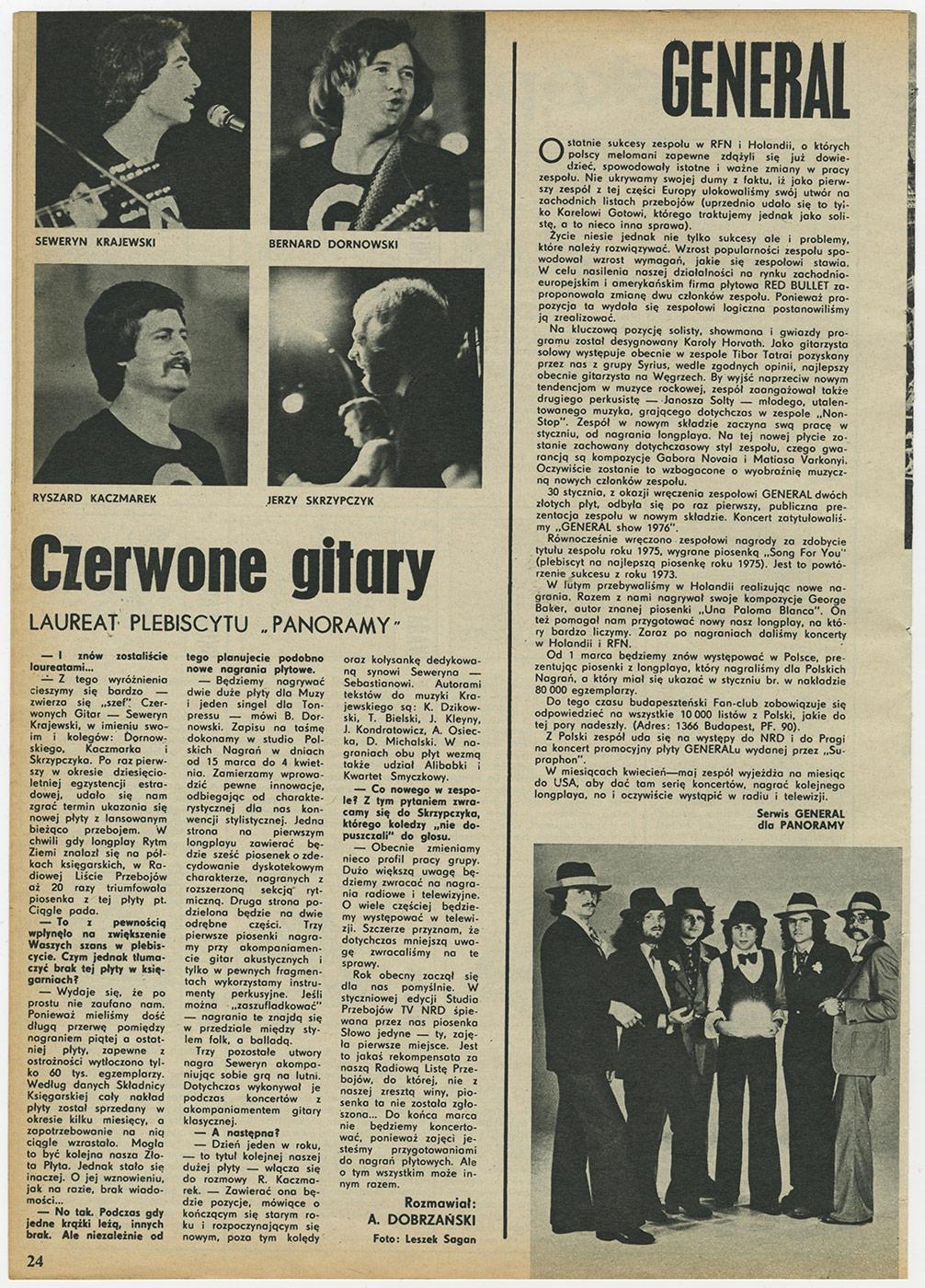 Czerwone gitary - laureat plebiscytu Panoramy. 7.03.1973 r.