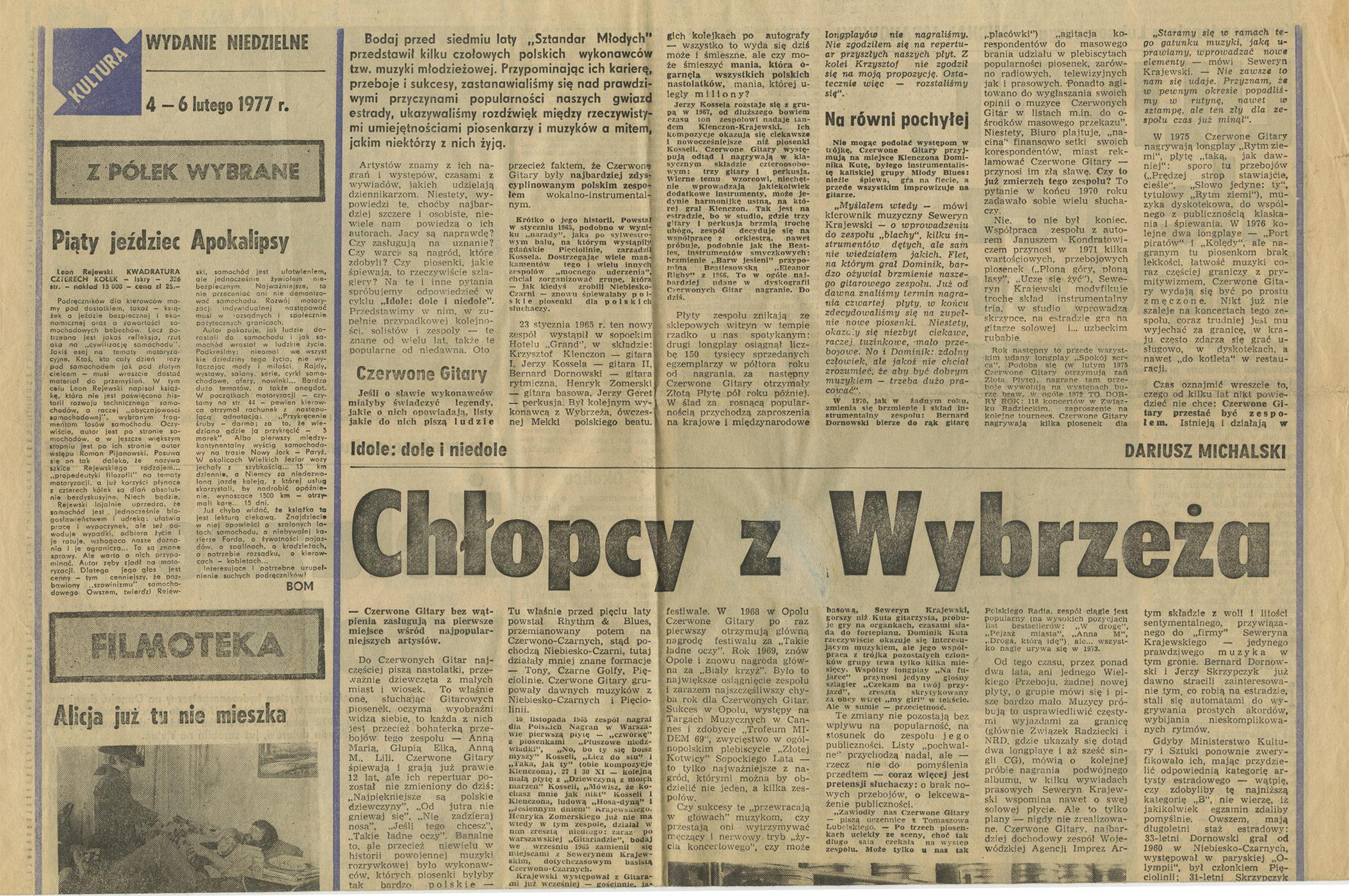 1969-1978_kultura_1977_Dariusz_Michalski_o_CzG_Krytyczny_Artykul_01